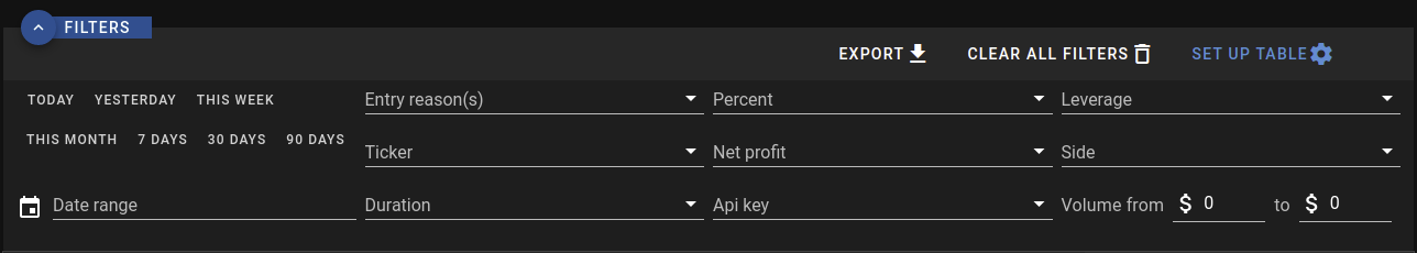 Trades' table filters
